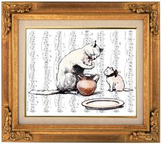Cat and Kitten Illustration, Victorian Era, Cute Art, Funny Print, Book Art, Wall Hanging, Kids, Childrens, Kitten, Nursery, Room Decor