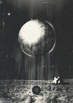 月/幾何学/宇宙/モノトーン
