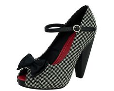 Houndstooth Peep Toe Rocket Heel - T.U.K. Shoes | T.U.K. Shoes