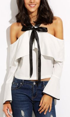 Black Bow chic and cute ruffle detail, Let's coffee togehter? White Cold Shoulder Bow Tie Ruffle Bell Sleeve Blouse from shein.com.