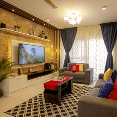 Get the best interior design ideas, room decors, smart features and more by a team of incredibly qualified designers only at Bonito Designs. Living Room Partition Design, Living Room Tv Unit Designs, Room Partition Designs, Ceiling Design Living Room, Home Room Design, Interior Design Living Room, Apartment Interior, Room Interior, Indian Home Interior