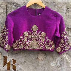 Contact us to place your order for this stunning purple blouse! Saree Blouse Neck Designs, Saree Blouse Patterns, Bridal Blouse Designs, Purple Blouse, Work Blouse, Blouse Styles, At Least, Clothes For Women, Indian Wear