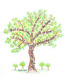Olive Tree Bible Verse art print scripture design by LindaRobbsArt
