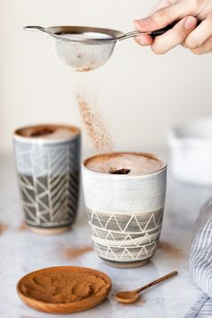 frothy chai hot chocolate with milk chocolate ganache