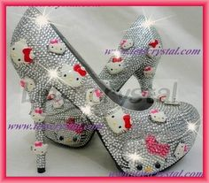 Hello Kitty High Heeled Silver Stiletto Pumps with Shining Crystals.
