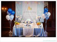 Blue White Korean Dohl First Birthday Party Main Dessert Table Decorated With Teddy Bears Gaga 1st Themes Boy
