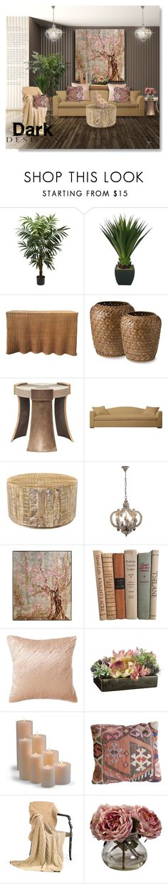 """Dark Walls"" by craftygeminicreation ❤ liked on Polyvore featuring interior, interiors, interior design, home, home decor, interior decorating, Nearly Natural, Donna Karan, Frontgate and Dark"
