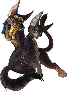 Bastet and Anubis based libris, for Hatter and Skye. Bastet's markings are based on a black/smoke egyptian mau, and Anubis' coloration is base. Egyptian Beauty, Egyptian Mau, Egyptian Mythology, Egyptian Goddess, Anubis, Bastet, Ange Demon, Epic Art, Anthro Furry