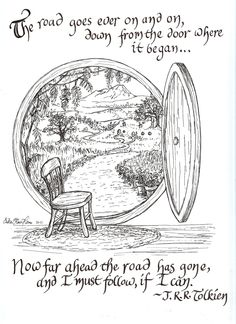 The Road Goes Ever On print, by Erika Rae Heins, with Tolkien quote (from a Walking Song by Bilbo Baggins, The Hobbit) : USD25.00, via Etsy.