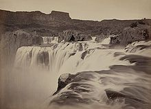 View across top of Shoshone Falls, Snake River, Idaho (Timothy H. O'Sullivan, 1874)