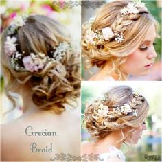 Pretty Grecian Braid with light floral accessories