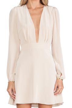 Apricot Long Sleeve V Neck Dress - Sheinside.com $21.99