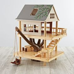 Woodworking For Kids - Shop Treehouse Play Set. We've scaled down the classic treehouse from Camp Wandawega to fit into your kid's playroom. Our Treehouse Play Set is made from wood, it's handpainted, and it features plenty of rooms for small dolls. Kids Woodworking Projects, Woodworking Plans, Wood Projects, Popular Woodworking, Woodworking Videos, Woodworking Furniture, Woodworking Classes, Woodworking Shop, Woodworking Organization