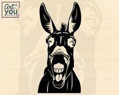 Donkey Svg files for cricut Funny farm animal clipart Farm Animals, Funny Animals, Wild Animals, Donkey Images, Xmas Shirts, Printable Designs, Printables, Svg Files For Cricut, Funny Faces