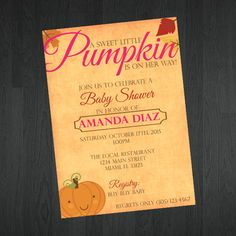Baby Shower Invitation  Fall Themed Baby by MemorableImprints