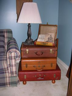 End table made with old luggage