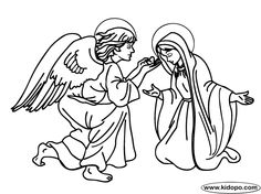 Mary and the Angel Gabriel Coloring Page | Children\'s Church ...