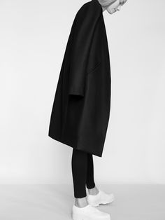 black coat & chunky white shoes #style #fashion