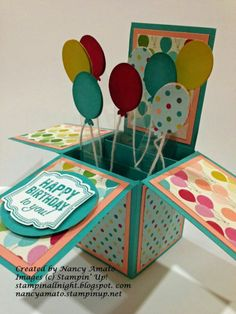 check out these fun pop up cards the birthday one uses the new look on the more - PIPicStats Pop Up Box Cards, 3d Cards, Cute Cards, Stampin Up Cards, Craft Cards, Cricut Birthday Cards, Handmade Birthday Cards, Happy Birthday Cards, Diy Birthday