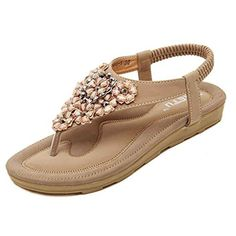 Start Women Summer Beaded Flower Flats Herringbone Sandals Beach Shoes (US=8, Khaki)