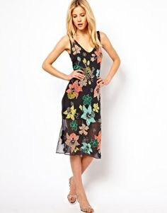 Image 4 of Needle & Thread Botanical Silk Midi Dress