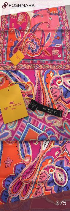 Etro Milano Silk Scarf. New With Tag! Adorable & Classic Etro 100% Silk scarf. Modern Paisley design in discus orange black pink real and iris. Perfect condition NWT. Etro Accessories Scarves & Wraps