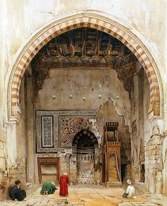 classic-art: Interior of a Mosque in Cairo Charles Pierron Klassische Kunst: Innenraum einer Moschee in Kairo Jahre) Charles. Islamic Paintings, Old Paintings, Empire Ottoman, Kairo, Middle Eastern Art, Arabian Art, Old Egypt, Photo Images, Islamic Architecture