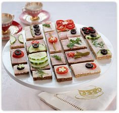 Great ideas for tea party sandwiches that start with the same base but have different toppings.