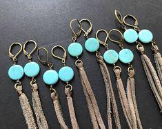 Leather Fringe Earrings Turquoise Boho Earrings,Long Leather Tassel Festival Earrings Real Leather Earrings