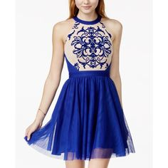Blondie Nites Juniors' Printed Contrast Lace Halter Party Dress ($169) ❤ liked on Polyvore featuring dresses, lace homecoming dresses, halter top, lace cocktail dress, blue lace cocktail dress and halter homecoming dresses