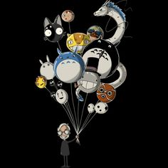 Miyazaki's Balloons is a T Shirt designed by Harantula to illustrate your life and is available at Design By Humans