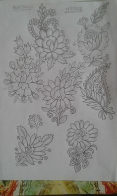 Border Embroidery Designs, Floral Embroidery Patterns, Embroidery Suits Design, Hand Work Embroidery, Hand Embroidery Stitches, Crewel Embroidery, Textile Pattern Design, Textile Patterns, Bird Silhouette Art