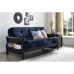 better homes and gardens wood arm futon with 8 in  coil mattress navy linen   buy futon mattress   buy cheap futon mattress online with amazon      rh   pinterest