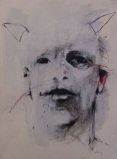 Harry Paul Ally, self portrait with horns, Lowe Gallery