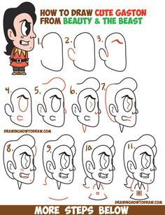 How to Draw Gaston from Disney's Beauty and the Beast (Cute / Kawaii / Chibi) Easy Step by Step Drawing Tutorial for Kids and Beginners