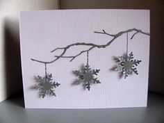 Items similar to Silver Snowflakes on White Card or Gold Snowflakes on Creamy Ivory Card - All Hanging from Matching Delicate Branch. Made to Order on Etsy Stamped Christmas Cards, Christmas Card Crafts, Homemade Christmas Cards, Christmas Cards To Make, Homemade Cards, Handmade Christmas, Snowflake Cards, 3d Snowflakes, Winter Cards
