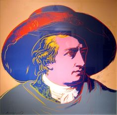 Andy Warhol, Goethe, 1982 (this image is based on the famous painting by Goethe's friend Johann Heinrich Wilhelm Tischbein painted during their travel through Italy in 1787)