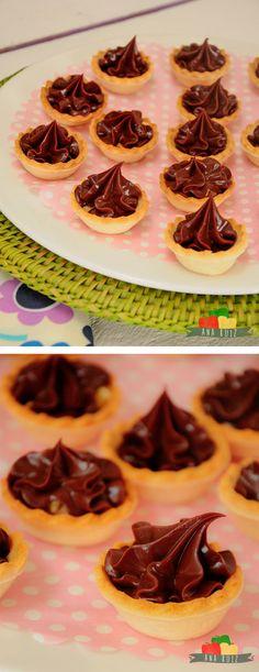 tartaletas, mini tartas, crema, chocolate, chocolate cremoso, sin horno