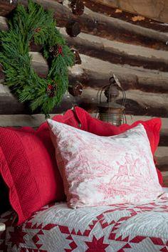Red and White log cabin Christmas bedding Log Cabin Christmas, Primitive Christmas, Country Christmas, All Things Christmas, Winter Christmas, Christmas Home, Vintage Christmas, Merry Christmas, Woodland Christmas