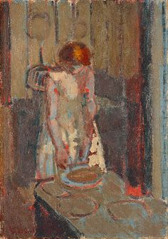 A French Kitchen, c. 1910-20, by Walter Richard Sickert (English, 1860-1942)