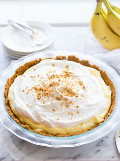 Biscoff Banana Cream Pie has a biscoff cookie crust and is filled with a creamy banana pudding.