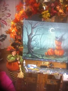 Spooky Hollow tutorial for Hart Party Pumpkin halloween painting #hartparty