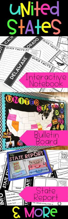 United States Interactive Unit. Interactive notebook pages (with answer keys!), a state report, fun bulletin board to display learning, postcard exchange ideas, and more!