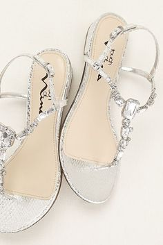 Silver Wedding Shoes flat with rhinestones Style 800 45 at http