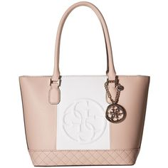 GUESS Korry Small Classic Tote (Nude Multi) Tote Handbags ($60) ❤ liked on Polyvore featuring bags, handbags, tote bags, multi, vegan leather tote, tote handbags, zip top tote, guess tote bags and white handbags
