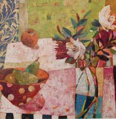 """SALLY ANNE FITTER: """"Two Pears and Garden Flowers"""""""