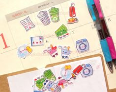 Kawaii housework / chores stickers for planner decoration, scrapbook, mail art & more!