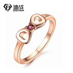 Rose Gold Color Open Style Unique Cute butterfly Rings For Women Titanium Steel Bow Rings Wedding Jewelry