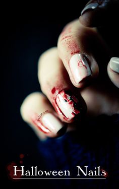 Halloween nail art // Ripped Nail Special effect check out www.MyNailPolishObsession.com for more nail art ideas.