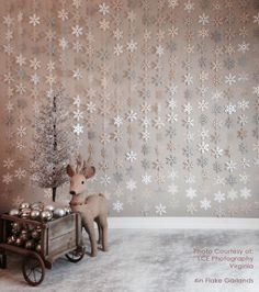 Paper Snowflake Garland Silver Ivory White Gray Neutrals by TRRP